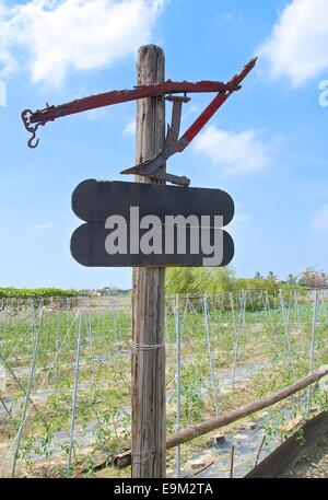 The old wooden sign post in the countryside - Stock Photo