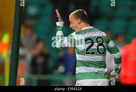 Glasgow, Scotland. 29th Oct, 2014. Scottish League Cup. Celtic versus Partick Thistle. Leigh Griffiths celebrates - Stock Photo