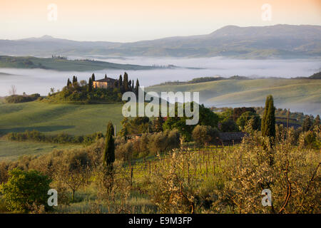 The Belvedere farmhouse in Val d'Orcia with early morning fog, San Quirico d'Orcia, Tuscany, Italy - Stock Photo