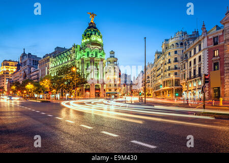 Madrid, Spain cityscape on Gran Via at twilight. - Stock Photo