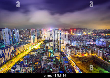 Guiyang, China cityscape at night. - Stock Photo