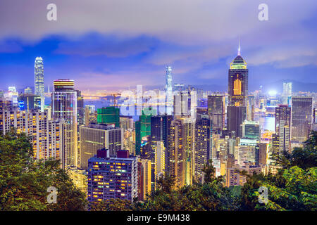 Hong Kong, China Skyline. - Stock Photo