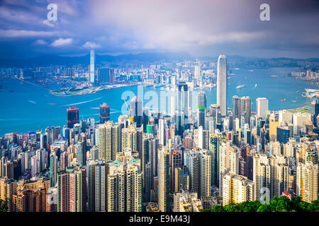 Hong Kong, China city skyline from the Peak. - Stock Photo