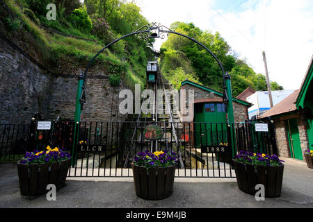 The Victorian Water Powered Lynton and Lynmouth Funicular Cliff Railway - at the Lynmouth entrance - Stock Photo