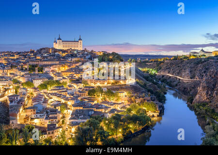Toledo, Spain town skyline on the Tagus River at dawn. - Stock Photo