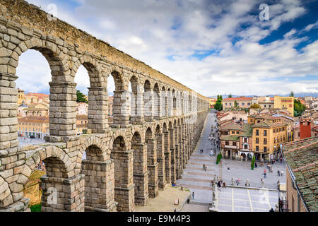 Segovia, Spain at the ancient Roman aqueduct. - Stock Photo