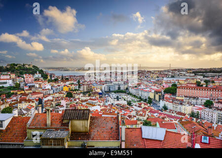 Lisbon, Portugal skyline in the afternoon. - Stock Photo