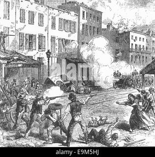 New York Draft Riots - fighting Rioters and Federal troops, 1863 - Stock Photo