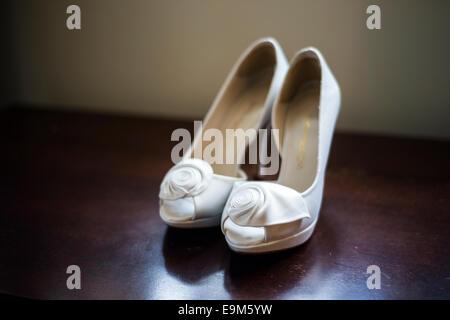 White Wedding Shoes - Stock Photo
