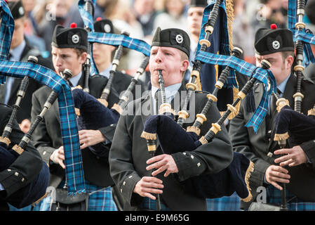 LONDON, UK - Bagpipers from the Sea Cadets march in a parade in Trafalgar Square in central London on 19 October - Stock Photo