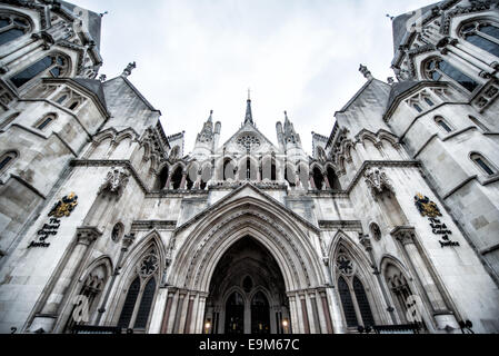 LONDON, UK - The main entrance to the Royal Courts of Justice on Fleet Street in London. - Stock Photo