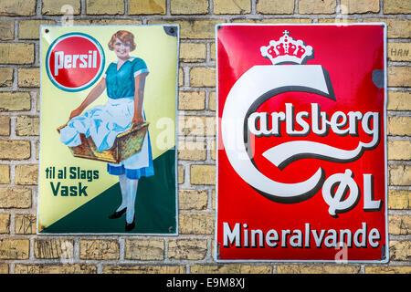 Antique advertising signs, Frilandsmuseet, Zealand, Denmark - Stock Photo