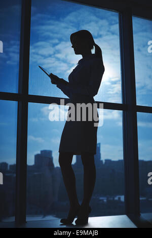 Outline of businesswoman standing by the window in office - Stock Photo