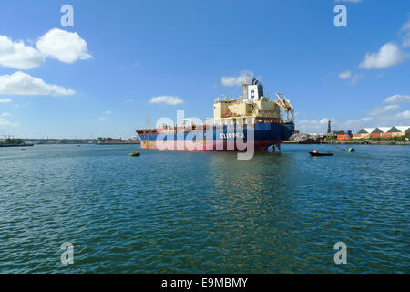 Dordrecht, The Netherlands - August 31, 2013: Clipper Mari, a chemical and oil products tanker anchored in the Wilhelmina - Stock Photo