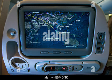 Passenger seat display in the Airbus A380, Singapore Airlines - Stock Photo