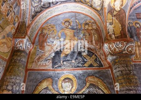 Frescoes in the Dark Church or Karanlık Kilise, Göreme Open Air Museum, or Göreme Açık Hava Müzesi, Göreme National - Stock Photo