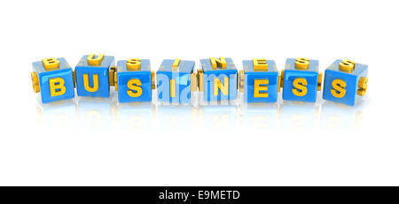yellow 3d text BUSINESS on reflective blue cubes. - Stock Photo