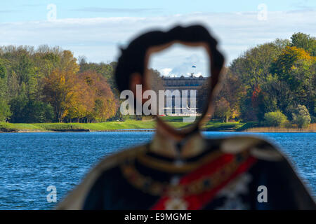 King Ludwig II Photo Cut Out Plaque with view to the Herreninsel Castle,  Chiemsee, Chiemgau, Upper Bavaria , Germany, - Stock Photo