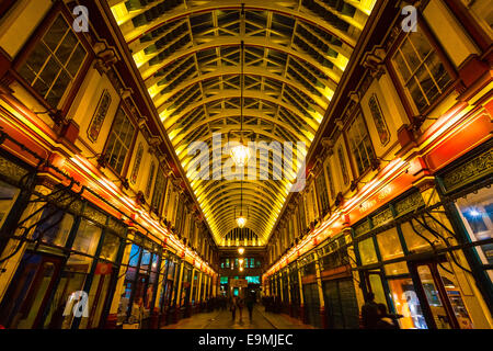 LONDON - MARCH 19: Leadenhall Market is a covered market in London ,It is one of the oldest marketsof the city, - Stock Photo