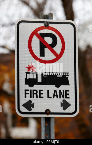 no parking fire lane sign in Saskatchewan Canada - Stock Photo