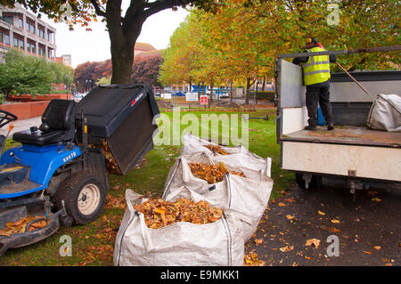 Bristol, UK. 30th October, 2014. Council workers removing autumn leaves in the city centre. Credit:  Richard Wayman/Alamy - Stock Photo