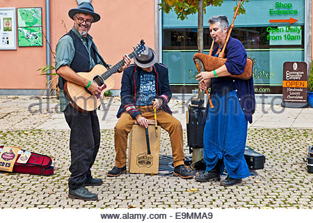 Members of the Devon based folk band Paddy's Whiskers playing traditional music at Cockington Court Apple Day, Torquay, - Stock Photo
