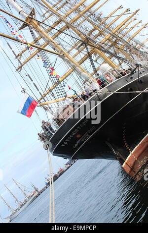Gdynia, Poland , 17th August 2014: Famous russian sailing ship Kruzenshtern during operation Gdynia Sails. - Stock Photo