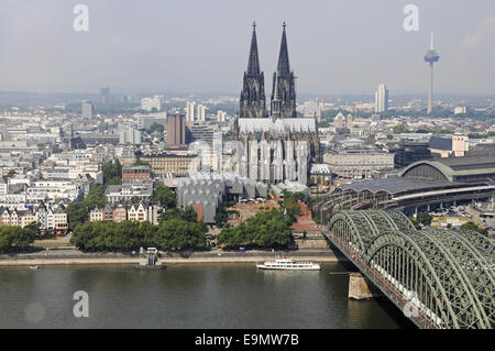 Cathedral, Rhine River, Cologne, Germany - Stock Photo