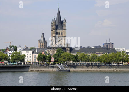 riverside, Rhine River, Cologne, Germany - Stock Photo