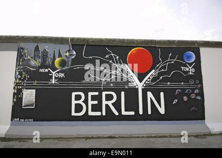 East-Side gallery in Berlin, 2009, Germany - Stock Photo