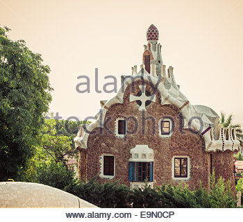 Park Guell in Barcelona. Catalonia, Spain - Stock Photo