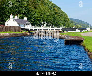 Closed lock on the Crinan Canal in Scotland - Stock Photo