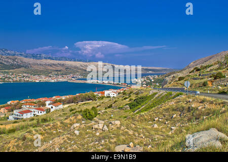 Island of Pag aerial bay view - Stock Photo