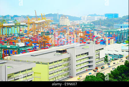Aerial view on Singapore port - Stock Photo
