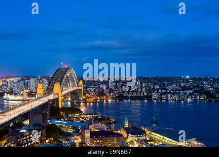 Dramatic panoramic night photo Sydney harbor - Stock Photo