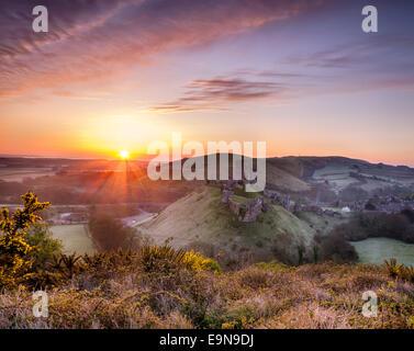 Beautiful sunrise over a fairytale castle - Stock Photo