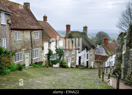 Cottages on a cobblestone street at Gold Hill in Shaftesbury in Dorset - Stock Photo