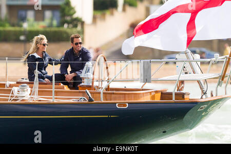 Olympic and America's Cup winning sailor, Sir Ben Ainslie, aboard his Truly Classic  yacht with girlfriend Georgie - Stock Photo