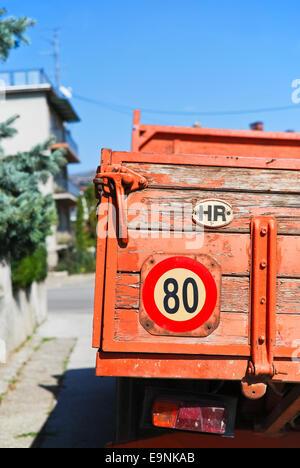Red truck in Zagreb - Stock Photo