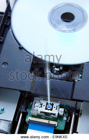 Blue ray disk into device - Stock Photo