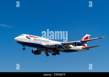 Boeing jumbo jet. British Airways 747-400 plane on its approach for landing at London Heathrow, England, UK - Stock Photo