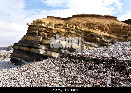 Geological rock strata at Kilve Beach, Somerset UK - Part of a larger Site of Special Scientific Interest (SSSI) - Stock Photo
