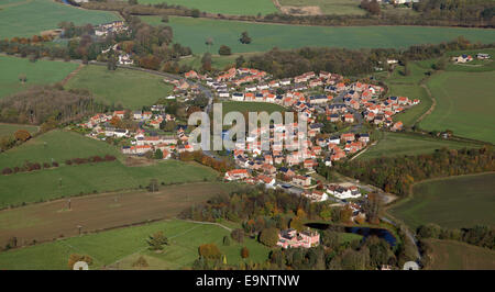 aerial view of the North Stainley village near Ripon, North Yorkshire - Stock Photo