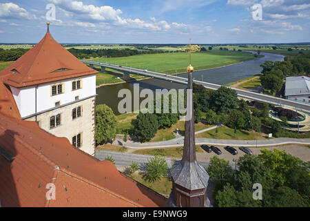 Elbe river from Castle Hartenfels in Torgau, Germany - Stock Photo