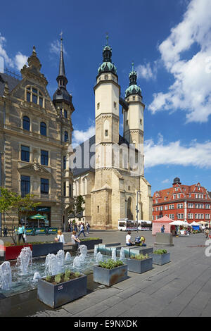 Market with Church of St. Mary in Halle, Germany - Stock Photo