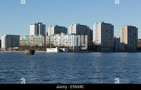 Merihaka is a seashore residential area in central Helsinki, Finland consisting of large high-rise concrete housing - Stock Photo