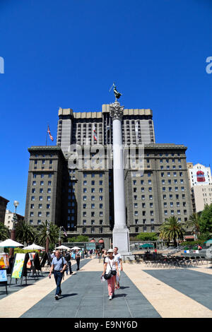 Union Square with St. Francis Hotel, San Francisco, California, USA - Stock Photo