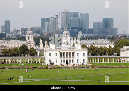 The National Maritime Museum, Royal Naval College and Canary Wharf, Greenwich, London, England, U.K. - Stock Photo