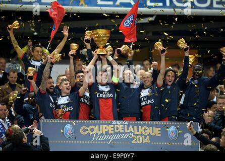 St. Denis, France. 30th October, 2014. Stade de France, St Denis, PSG versus Lyon. Thiago Silva (psg) and Marco - Stock Photo