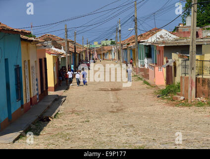A street in Trinidad, Cuba, one of UNESCOs World Heritage sites since 1988. - Stock Photo